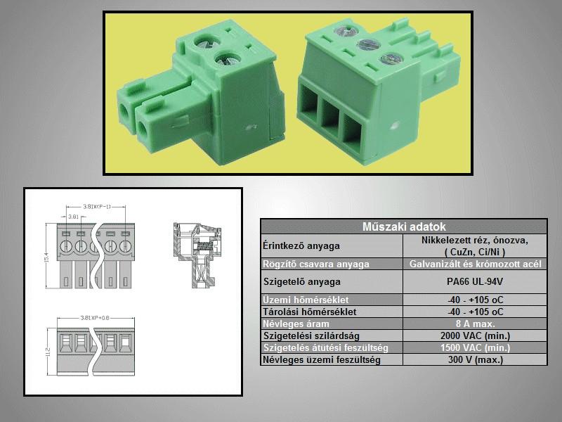Csatlakozó dugó 3,81mm 2p. 90° CSAT-15102/D -