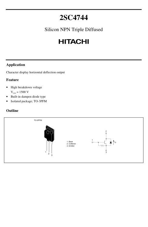 Tranzisztor NPN+DR 1500V 6A/16Ap 50W Display-HA 2SC4744 2SC4744 -