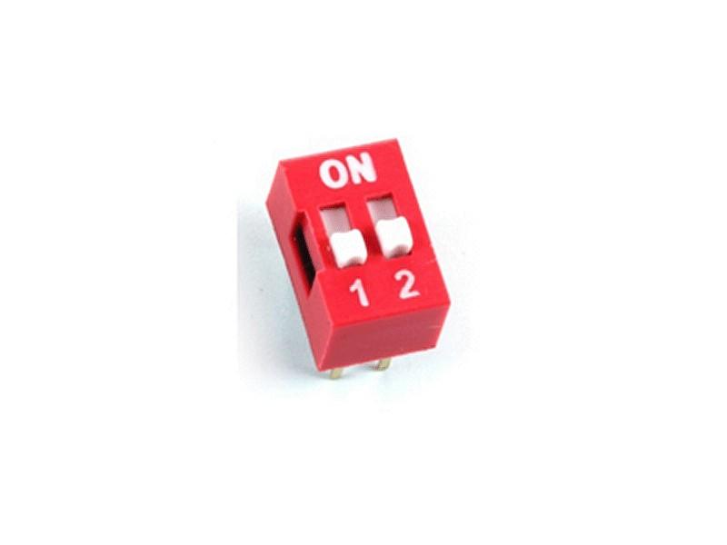 2 érintkezős DIP kapcsoló Stand. Red DS-02 R