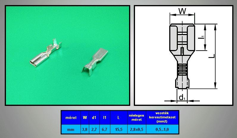 Kábelsaru 2.8/0.5 hüvely 0.5-1.0mm2 CS-K1280510/SN