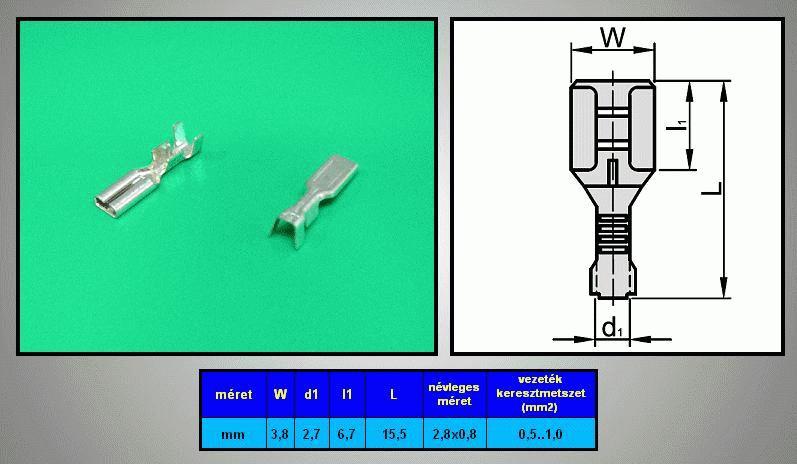 Kábelsaru 2.8/0.8 hüvely 0.5-1.0mm2 CS-K1280810/SN