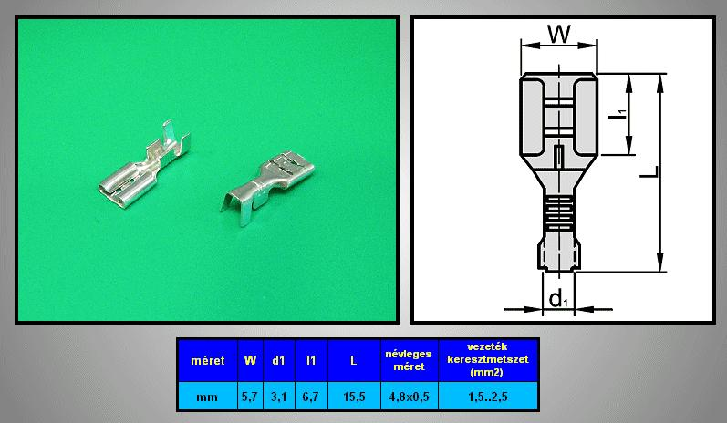 Kábelsaru 4.8/0.5 hüvely 1.5-2.5mm2 CS-K1480525/SN