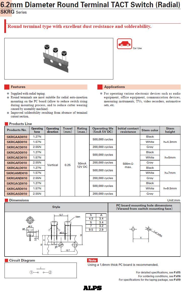 Mikrokapcsoló átm. 6mm 2p. gomb:0.8mm SW1006R2/008