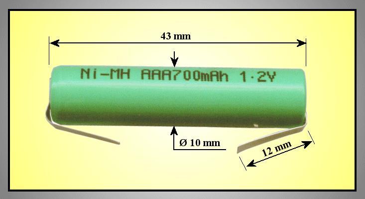 Ni-MH 1.2V 700mAh akkumulátor 10x44mm ACCU-1.2/700AAA