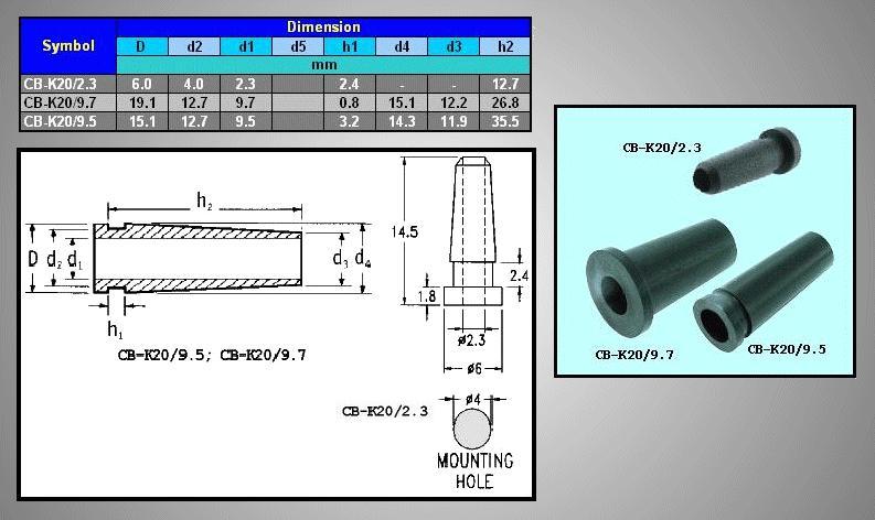 2.3mm kábel kivezető PVC CB-K20/2.3