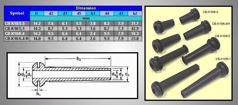 6.4mm kábel kivezető PVC CB-K10/6.4/H