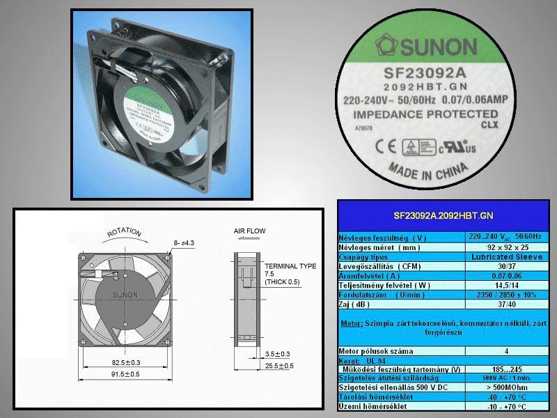 230V ventilátor 92x92x25mm SF23092A2092HBT.GN CY 230/09225-CS