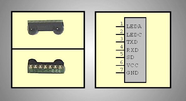 Infravörös adó-vevő modul 115.2Kbit/s, 875nm IRDA 115.2