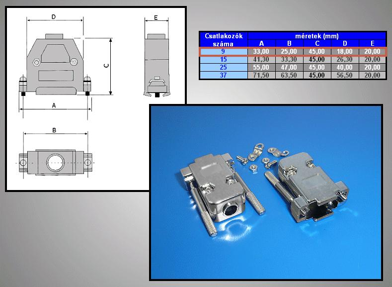 D-SUB 9p. fém ház kézi csavaros CS-DS009MMHK