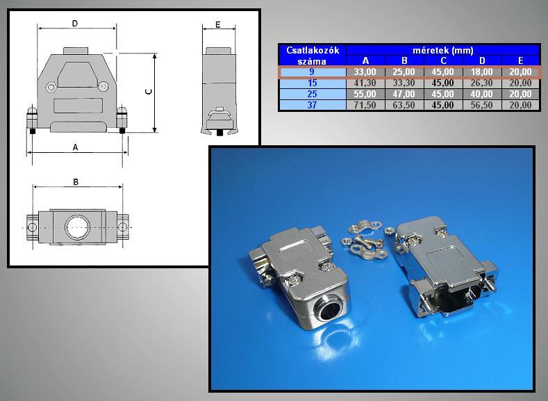 D-SUB 9p. fémezettház normál csavaros CS-DS009MH