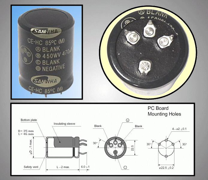 ELKO 470uF 450V 85°C álló 470/450P3