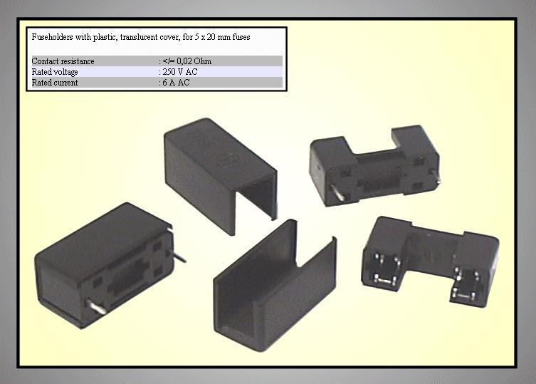 Műanyag biztosíték tartó, 5x20 nyákos +burkolat ZH1-ASSY/B