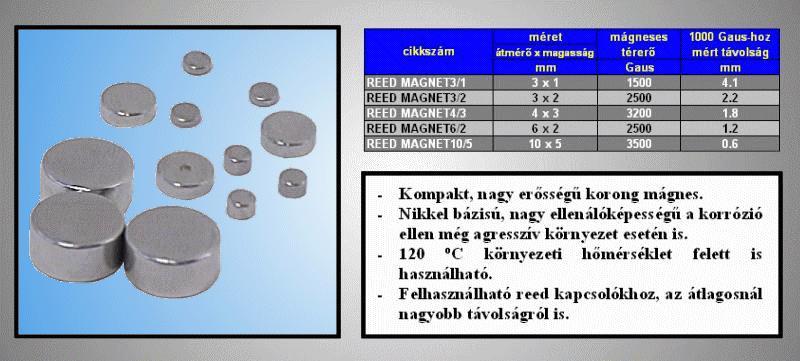 Mágnes korong SN 3x1mm 1500G REED MAGNET03/1