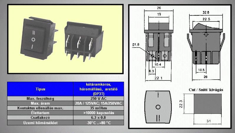Billenő fekete 2 áramkörös I/O/II 250V 15A I/II ON-OFF-ON SW2225/B