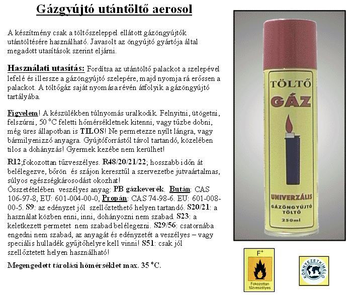 Utántöltő univerzális GÁZ 250ml SPRAY GAS/250