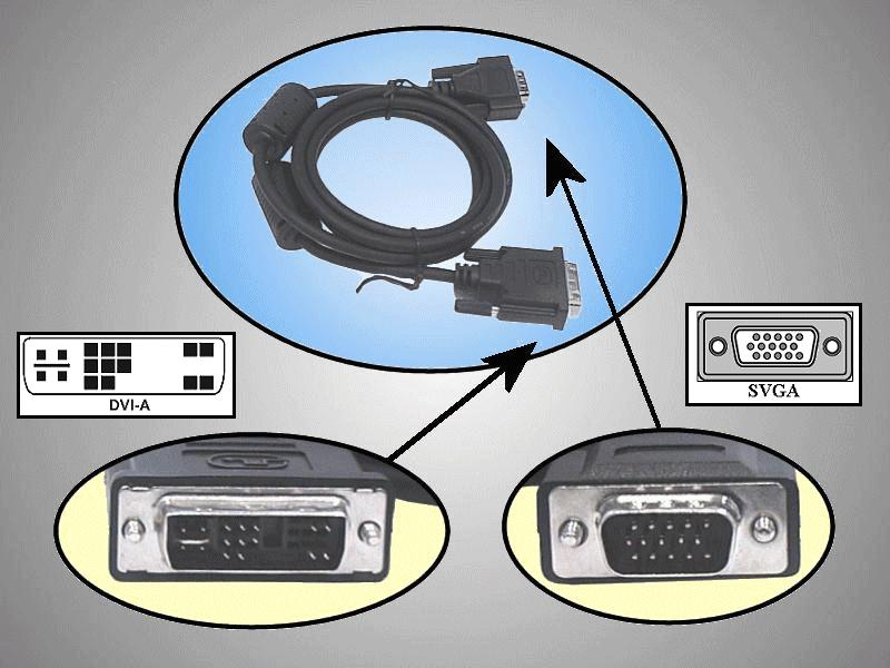 DVI-A dugó - D-sub HD15 dugó 1.8m CABLE DVIA-VGA
