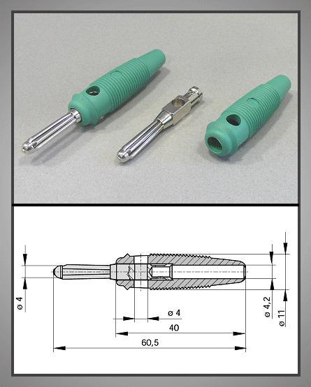 4mm banándugó zöld forrasztható 60V/30A CSAT-B004/G