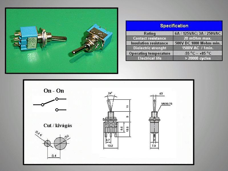 Miniatűr karos kapcsoló 250VAC 3A 1x3p. forrfüles SW2001/2S