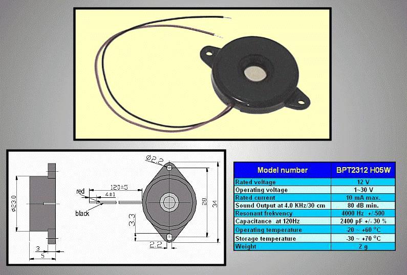 Piezo transducer BPT2312H05W 12VAC BZ-10/1