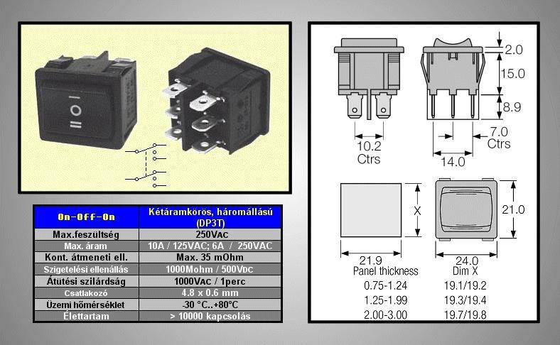 Billenő fekete 2 áramkörös I/O/II, ON-OFF-ON SW2224/B