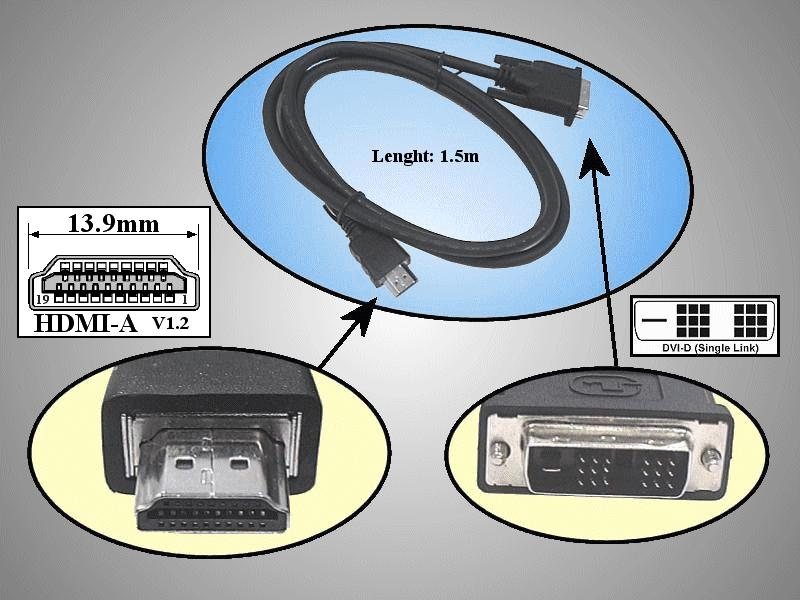 DVI-D 24+1 dugó- HDMI dugó 1,8m CABLE DVI-HDM01
