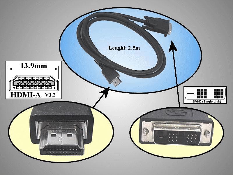 DVI-D 24+1 dugó- HDMI dugó 3m CABLE DVI-HDM02