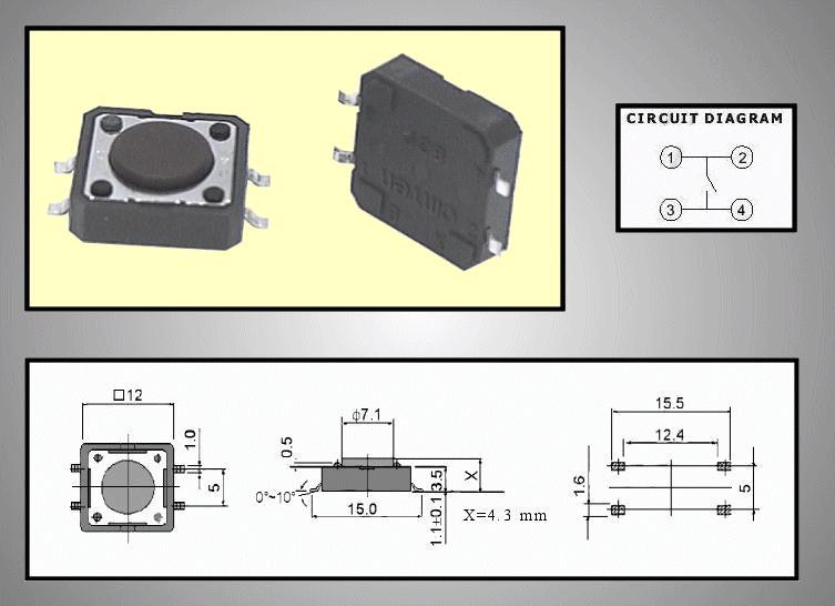 Mikrokapcsoló 12x12mm 4p g.=0.8m SW10120 SMD