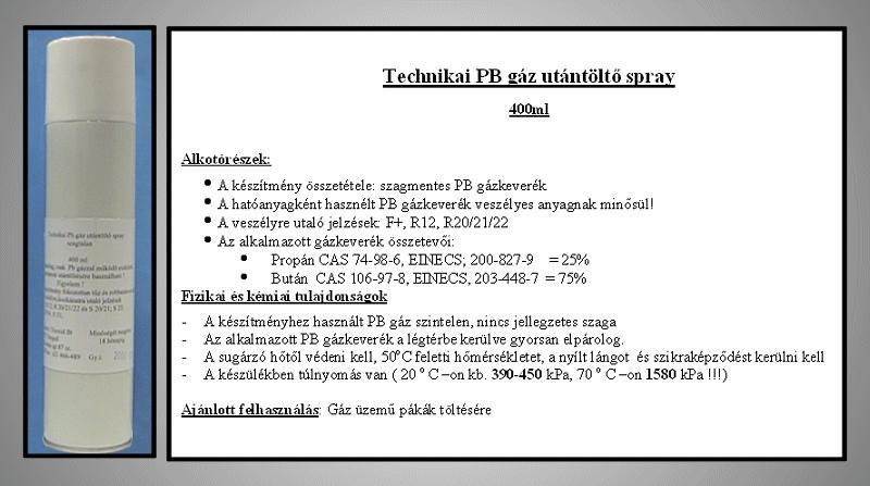 Utántöltő ipari gáz 400ml (forrasztópákához) SOLD.GAS/400