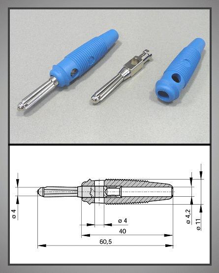 4mm banándugó kék forrasztható 60V/30A CSAT-B004/BL