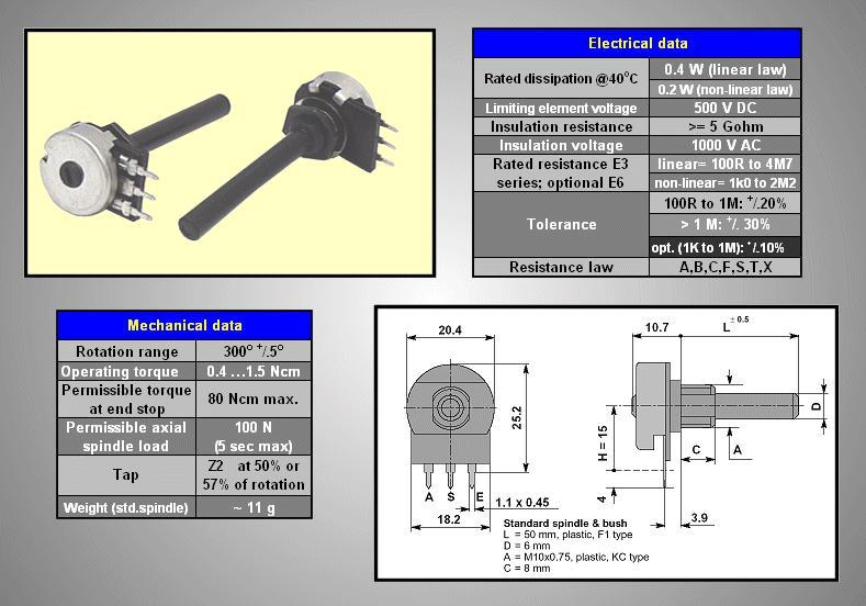 potméter műanyag mono lineáris 6mm 6PMI 100K /O