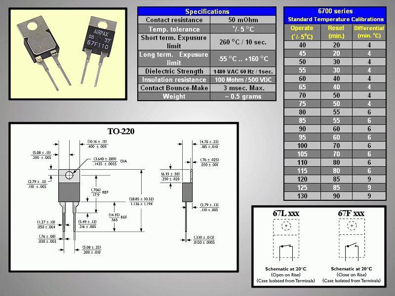 PCB CLOSE 70°C / OPEN 50°C 67F070