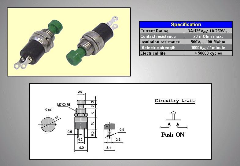 Nyitott nyomókapcsoló (zöld) 1A 250V SW30011/G