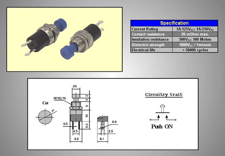 Nyitott nyomókapcsoló (kék) 1A 250V SW30011/BL
