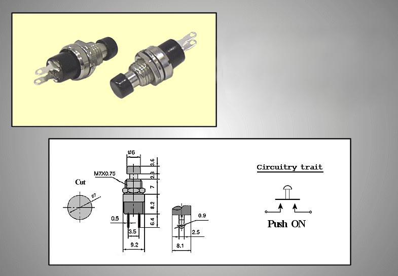 Nyitott nyomókapcsoló (fekete) 1A 250V SW30012/B