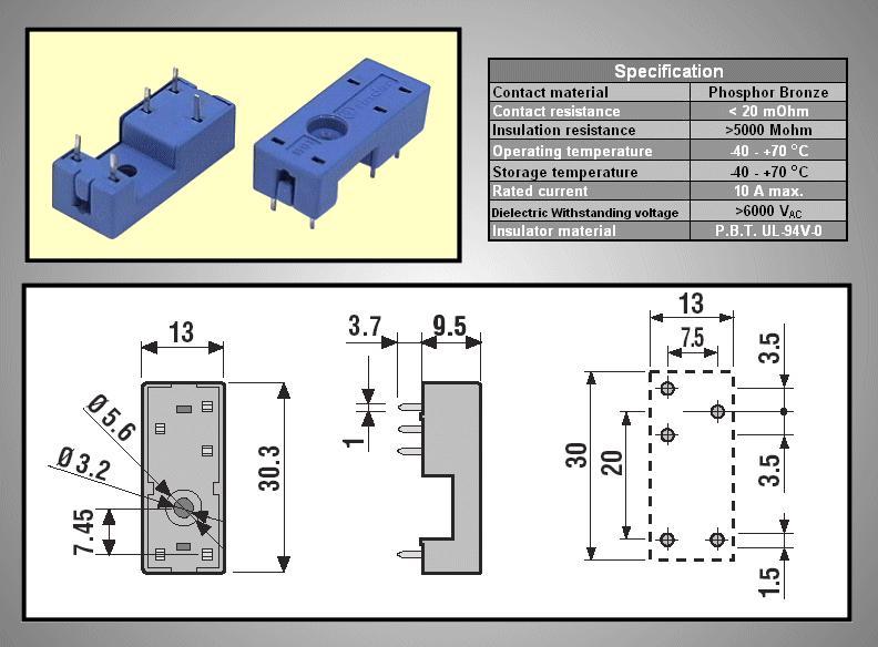 RELÉ foglalat panelbe 5p. IP20 Finder: 95.13.2 RELAY-F/95132