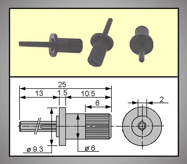TRIMMER forgatógomb 2mm 13.0/25.0mm TRIM-KNOB-MA48
