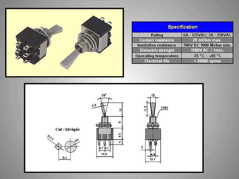 Miniatűr karos kapcsoló 250VAC 6A 2x3p. forrfüles SW2002/3SM