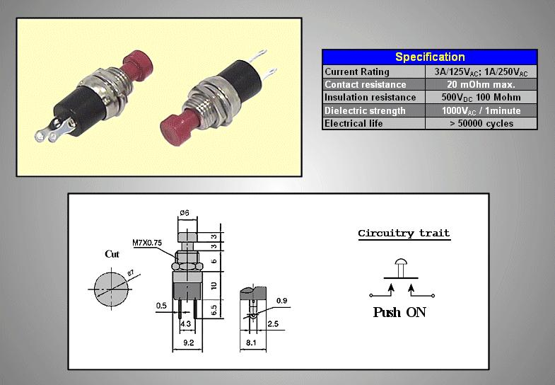 Nyitott nyomókapcsoló (piros) 1A 250V SW30011/R