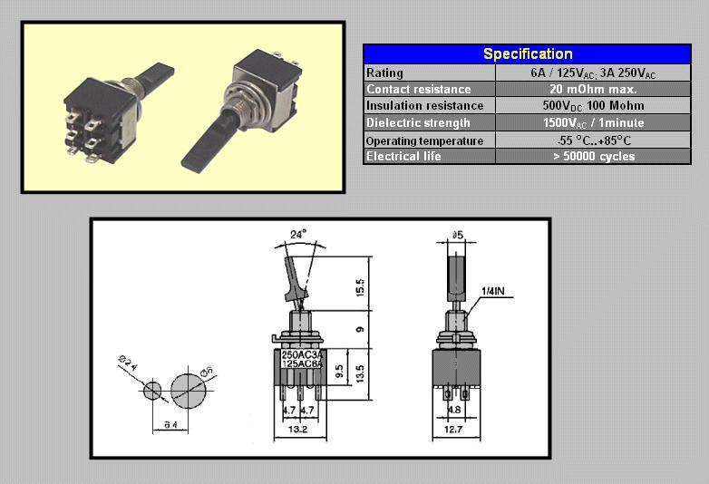Miniatűr karos kapcsoló 250VAC 6A 2x3p. forrfüles SW2002/3SB