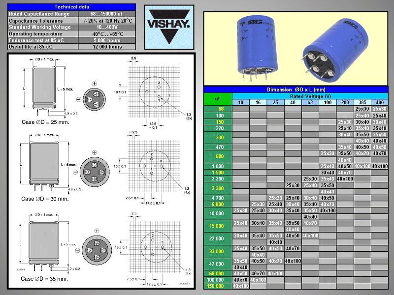 ELKO 150uF 385V 85°C 1+3p.álló 150/385P/2