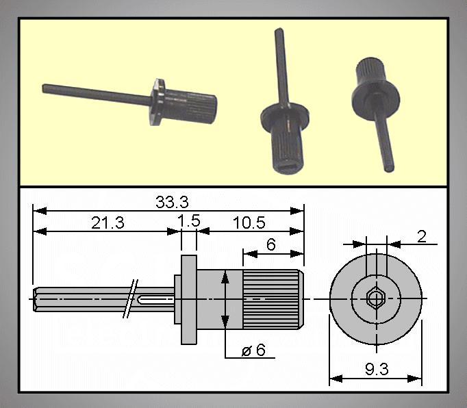 TRIMMER forgatógomb 2mm 21.3/33.3mm TRIM-KNOB-MA39