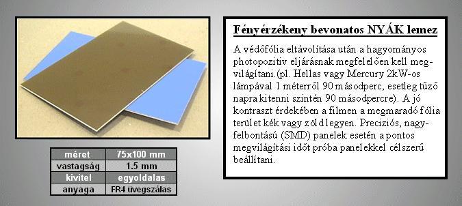 FR4 epoxi 1 oldalas Foto-Pozitiv20 35µm 7.5x10 PP-1304