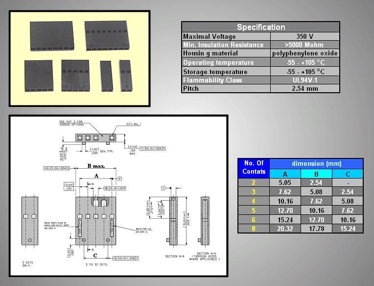 Egysoros csatlakozó ház 2p. táv. 2.54mm CSAT-10M02/D