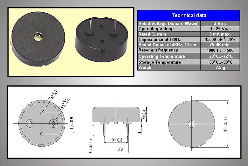 CERAMIC TRANSDUCER PCB BPT-20A BZ-111
