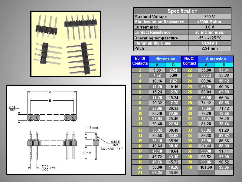 Egysoros tüskesor 2.54 1x4p.3/ 6mm 0.635 STSF M04P 3/06