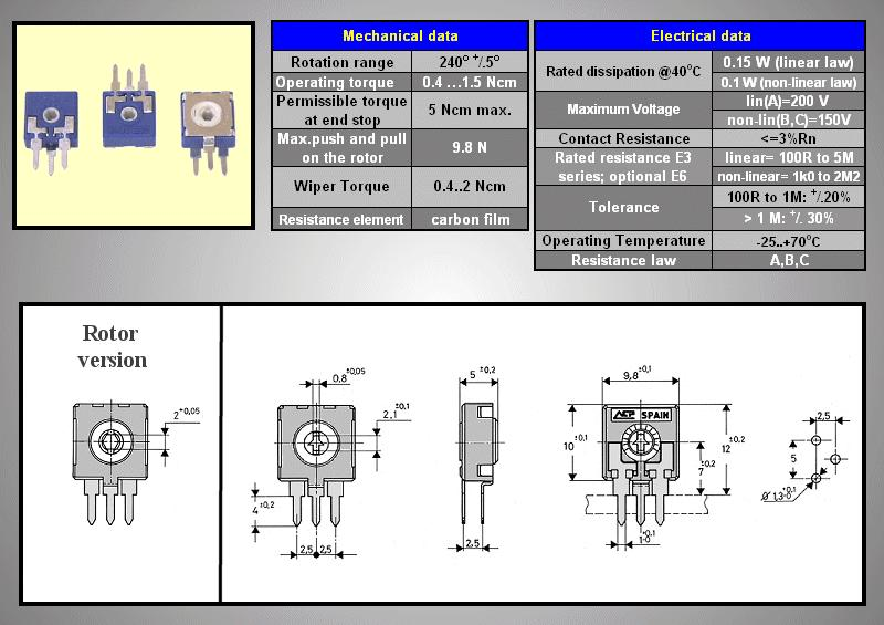 TRIMMER 500K 10mm álló ACP CA9MH TRIM 500K-10V/A