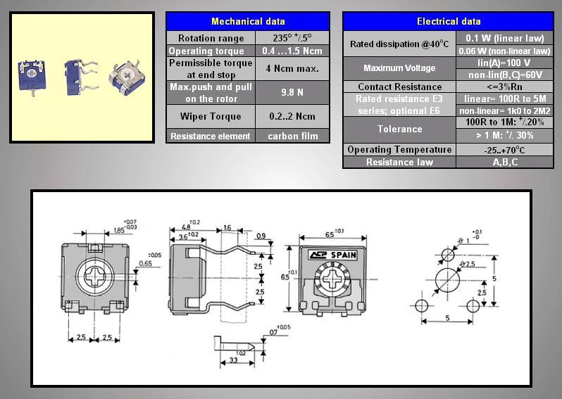 TRIMMER 100K 6mm fekvő ACP CA6XV TRIM 100K-06H/A