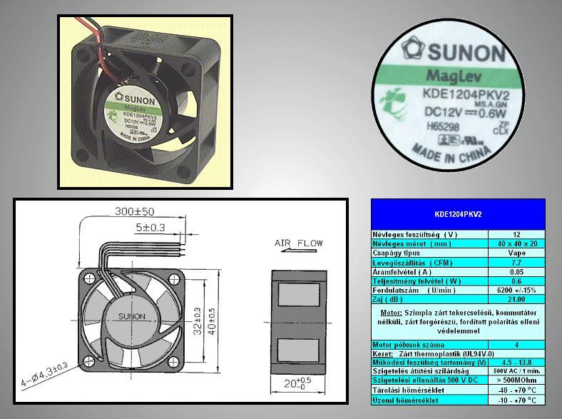 12V ventilátor 40x40x20 MB40201V2-A99 2 vezetékes! CY 4020/12-V2-A99