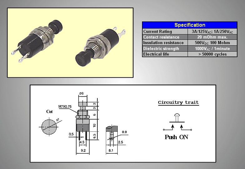 Nyitott nyomókapcsoló (fekete) 1A 250V SW30011/B