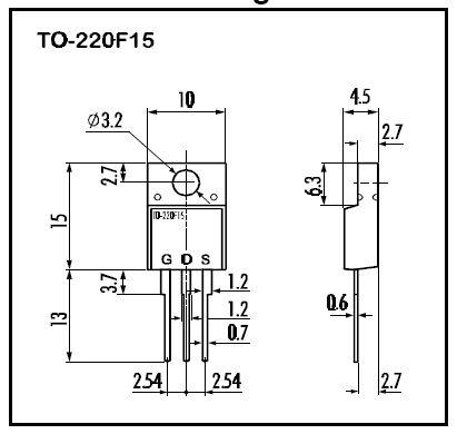 Tranzisztor N-MOSFET 500V 10A/40Ap. 50W 0.73R 2SK2640 2SK2640 -